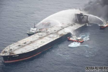 印度洋失火油轮复燃大火已控制疑似燃油泄漏