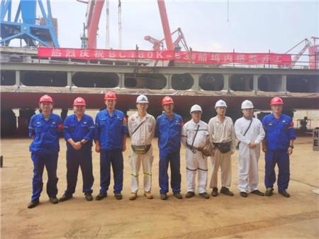 北船重工18万吨散货53号船进坞铺底