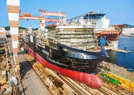 中集来福士建造南极磷虾运输船顺利下水
