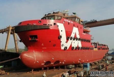 苏洋船舶一艘64米油田看护船下水