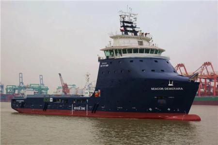 广东中远海运重工平台供应船N608试航凯旋