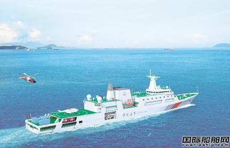 """黄埔文冲建造中国首艘万吨级海巡船""""海巡09""""轮出坞"""