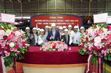 台船建造台湾地区首艘大型风电安装起重船开工