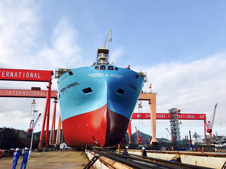 长宏国际一艘2300TEU集装箱船顺利下水