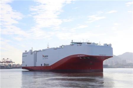 厦船重工第二艘7500车LNG汽车滚装船成功交付离港