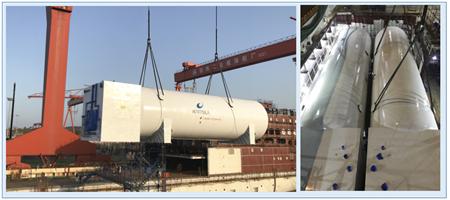 威海金陵首艘双燃料高端客滚船LNG罐吊装到位