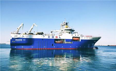 """威海金陵完成中国首艘深水物探船""""海洋石油720""""号修理"""