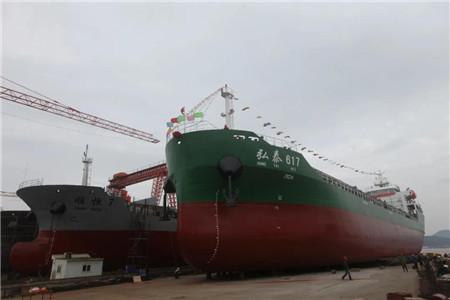 """东红船业建造7300吨散货船""""弘泰617""""下水"""