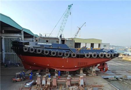 显利造船一艘32米RAmparts拖轮下水
