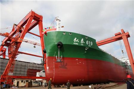 东红船业两艘散货船顺利下水