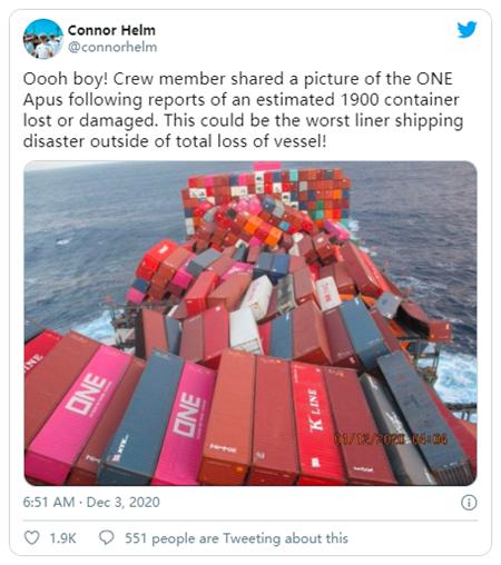 """""""ONE Apus""""号事故引发业界抨击:船舶大型化该打住了!"""