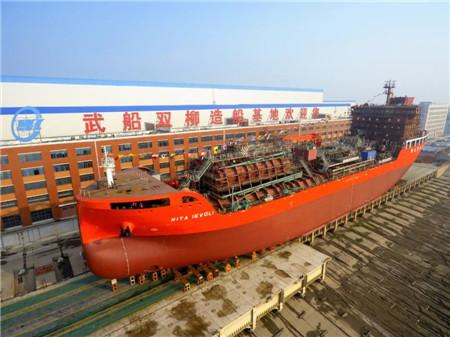 武船集团14620吨不锈钢化学品船下水