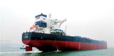 北船重工一艘18万吨散货船出海试航
