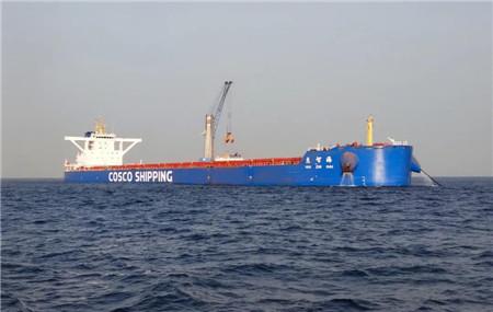 """首艘中铝几内亚项目定制船""""惠智海""""轮首航满载回国"""