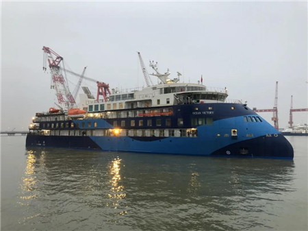 招商工业海门基地3号极地探险邮轮试航归来