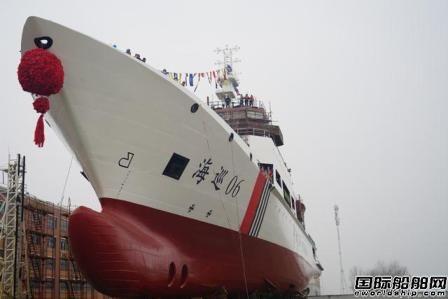 武船建造台湾海峡首艘5000吨级海事巡航救助船下水