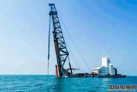 """""""雄程3""""号打桩船助力华能苍南4号海上风电工程首个承台完工"""