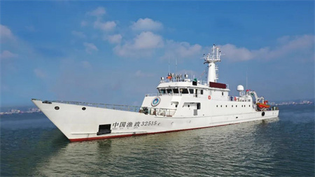 江龙船艇承建600吨级渔政执法船首次海试