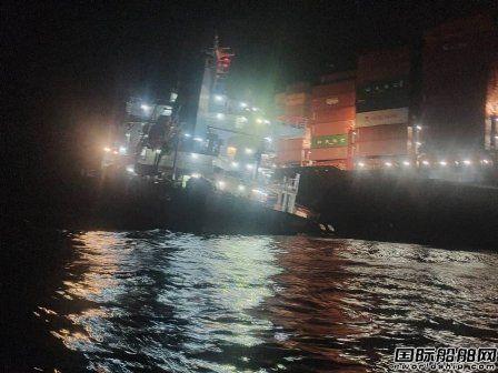 又出事了!这艘新造集装箱船被撞惨了