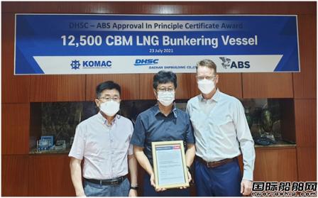 大韩造船12500方LNG加注船获ABS原则性认可