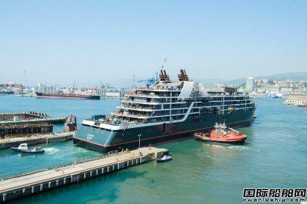 """世邦邮轮超豪华探险邮船""""Seabourn Venture""""号出坞"""
