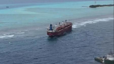 一艘散货船在马尔代夫搁浅遭索赔船长需担责