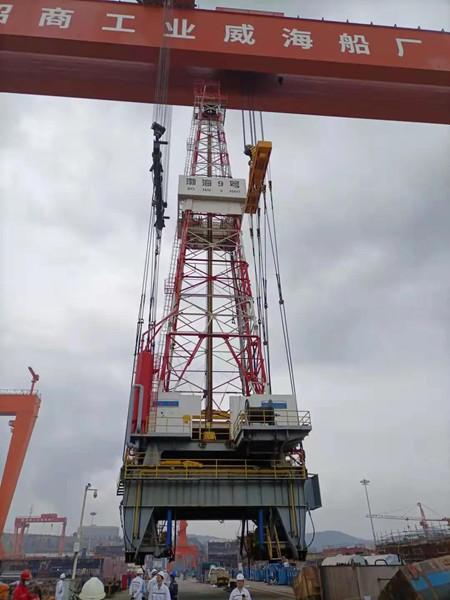 威海金陵完成渤海9号钻台井架拆除工程