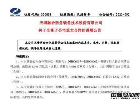 天海防务:大津重工6艘货船订单生效破冰船项目终止